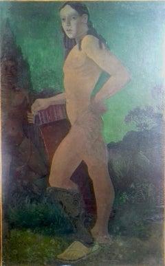 Large Male Nude, Young Warrior, Mythological Roman Symbolist French Art Deco