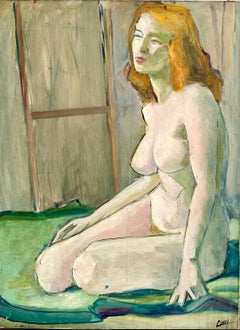 Large Modernist Painting - Sensuous Nude - Figurative Abstract Redhead Picasso
