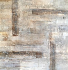 Large Neutral Abstract Oil Painting, Signed
