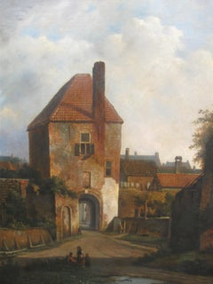 18th Century Old Master Dutch Townscape -  Oil on Canvas, Landscape Paintings