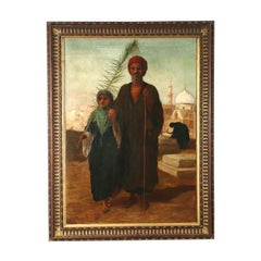 Large Painting Orientalist Subject Oil On Canvas Late '800
