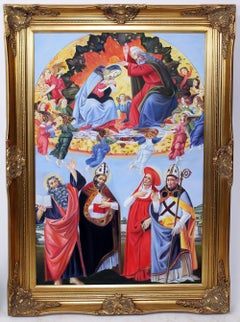 Large Portrait Oil Painting Depicting THE ASSUMPTION OF MARY