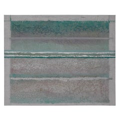 Large Scale Blue Textured Linear Modern Abstract Painting