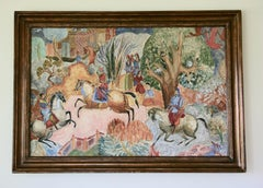 Large Scale Persian Hunt Landscape Painting