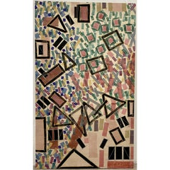 Large Scale Vintage Geometric Abstract Painting 20th c.