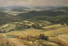 LARGE SIGNED GERMAN VINTAGE OIL - ROLLING PANORAMIC LANDSCAPE WITH HILLS