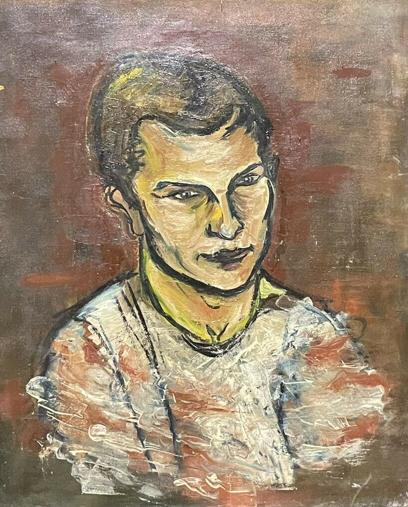 LARGE1970'S FRENCH MODERNIST OIL - PORTRAIT OF A YOUNG MAN