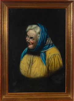 Late 19th Century Oil - Elderly Lady with Blue Headscarf