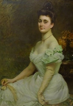 Late 19th Century Realist French School Portrait of a Noblewoman Oil on Canvas