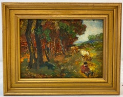 Late 19th to Early 20th Century European Landscape W/ Cattle Oil Painting