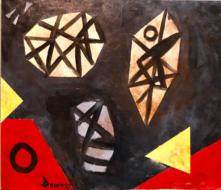 Latin American Abstract Surrealist Modern Oil Painting - Black Abstract Painting by Unknown