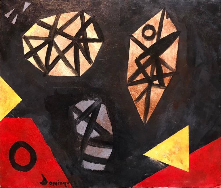 Unknown Abstract Painting - Latin American Abstract Surrealist Modern Oil Painting