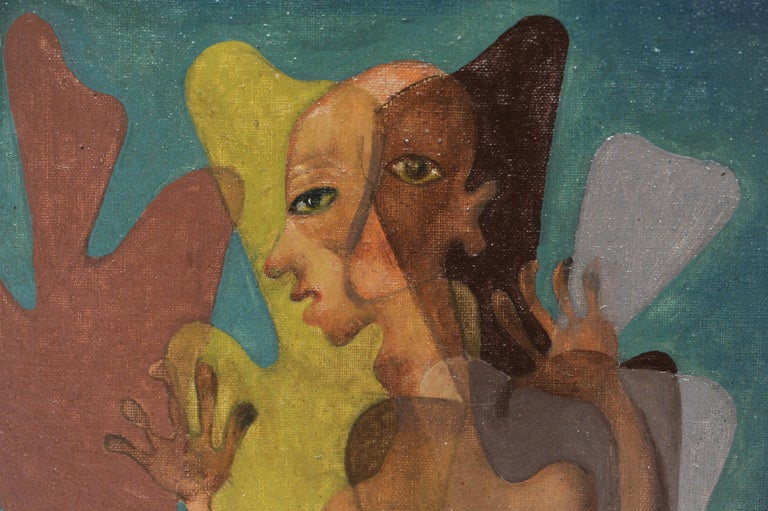 Latin American Surreal Figurative Modern Painting, 1950 For Sale 1