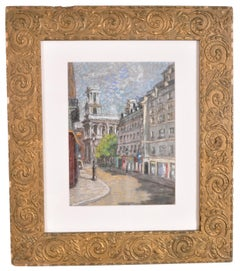 L'Eglise St. Sulpice a Paris, Antique French Impressionist Gouache Painting 1900