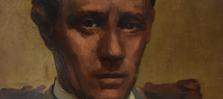 Leslie Howard in the role of Ashley 'Gone with the wind' 1939.  Presumably made by an American school.   The painting was restored by John Post in december 2019.  Instead of affiches there were a lot of oil portraits made of the actors of the