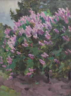 'Lilacs in Springtime', Impressionist Oil Painting with Purple, circa 1960s
