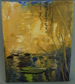 Lilly Pond Impressionist oil  Landscape Painting #2