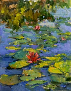 Lily Pads, Plein Air Impressionism Original Fine Art Oil on Linen Board