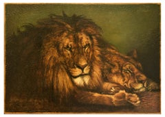 Lion and Lioness - Original Oil on Canvas Early 20th Century