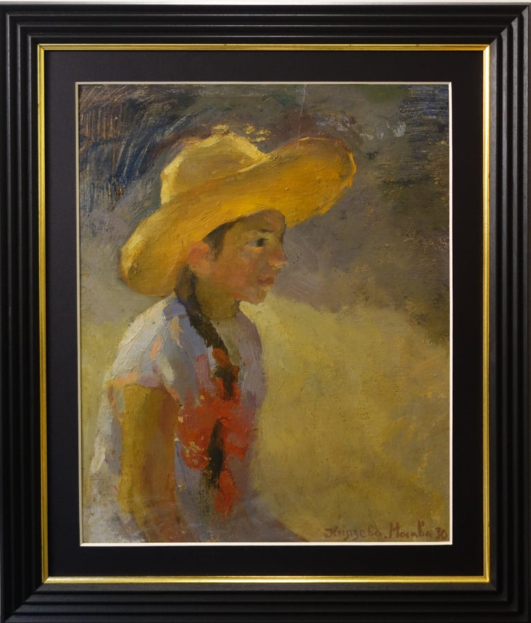 """Unknown Figurative Painting - """"Little girl with straw hat """"  Signed in Cyrillic Kniazeva Moscow  1930"""