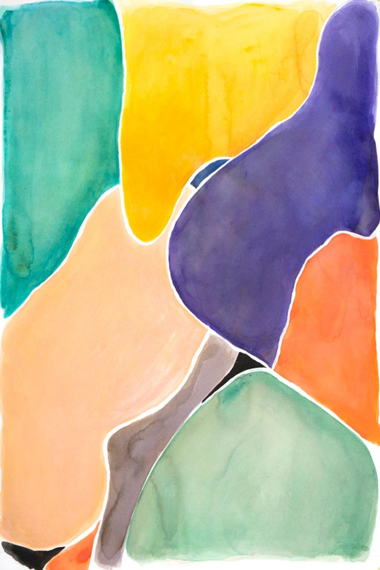 "Unknown Abstract Drawing - ""Lively Stained Glass Shapes"", Watercolor on Paper, 90x60 cm, Emerald and Orange"