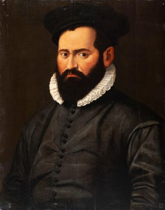 Lombardy (XVI Century), Portrait of bearded man with ruff and black hat