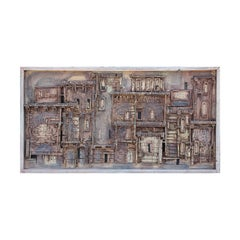 Long Horizontal Brown Toned Wooden Painted Wall Sculpture of a Town Landscape