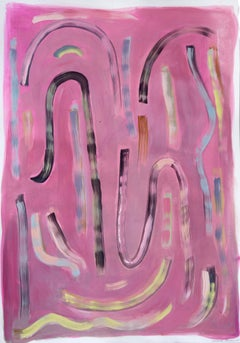 """Loose Pink and Yellow"", Mixed Media on Paper, Abstract Lavender Brush Strokes"
