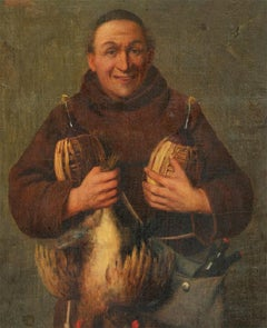 Luigi Agristi - Late 19th Century Oil, Monk with Wine & Hens