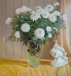M. Doré - Chrysanthemums. Oil on cardboard, 76x70 cm