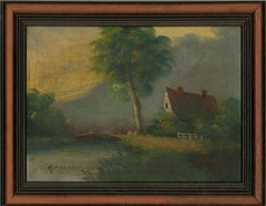 M. Douven - Signed & Framed Mid 20th Century Oil, Riverside Cottage