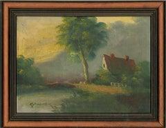 M. Douven - Signed & Framed Mid 20th Century Oil, Riverside Cottage