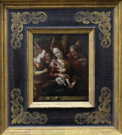 Madonna with child  - SaintJoseph with Angels classisism 17th century religious