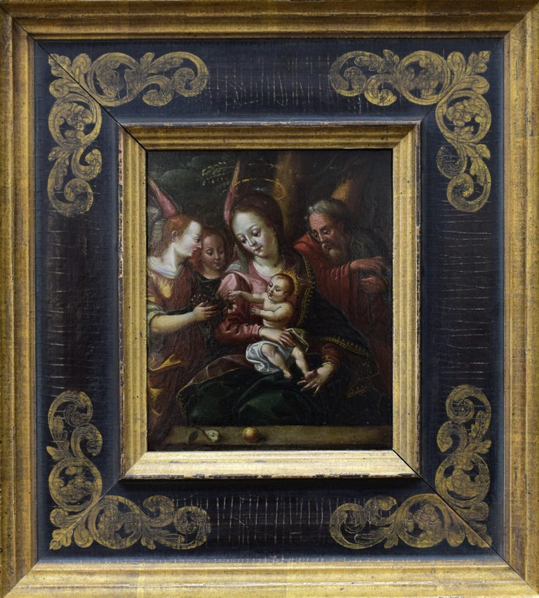 Unknown Portrait Painting - Madonna with child  - SaintJoseph with Angels classisism 17th century religious