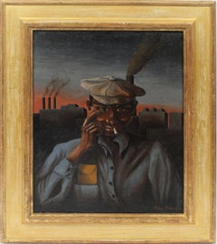 American Regionalist WPA Period Industrial Worker Oil Painting