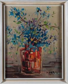 Mantos - Signed & Framed Mid 20th Century Oil, Red Vase Blue Flowers
