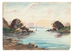 Marine Landscape - Oil on Carboard - 19th Century