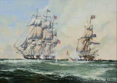 Maritime Scene depicting American and British / Australian Ship