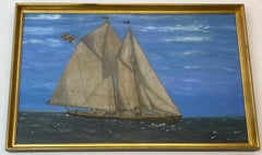 Maritime Schooner Gertrude De Costa Mixed Media Painting c.1916