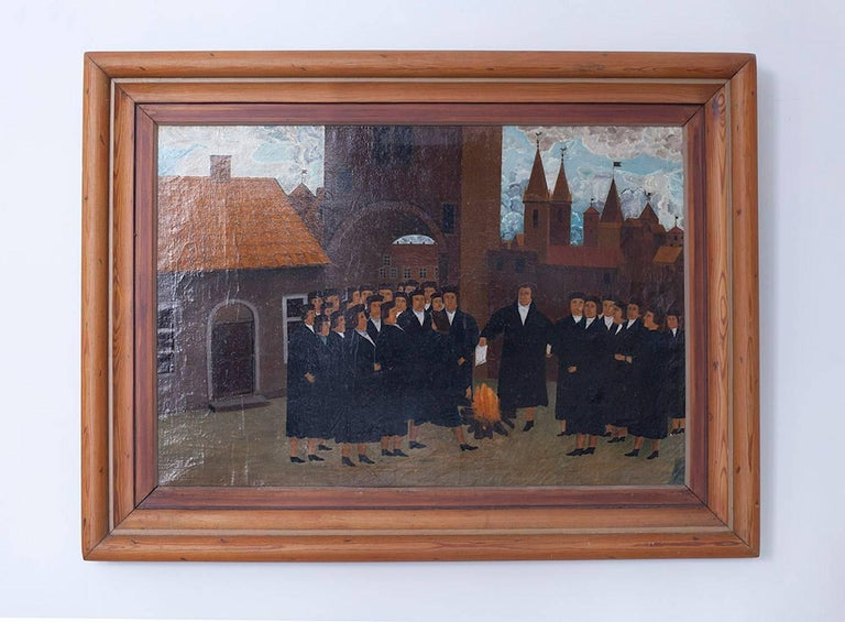 Martin Luther Town Scene Depicting the Burning the Bill of Excommunication by Po - Painting by Unknown