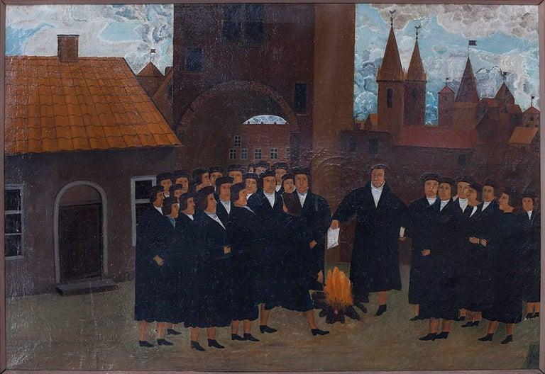Unknown Landscape Painting - Martin Luther Town Scene Depicting the Burning the Bill of Excommunication by Po