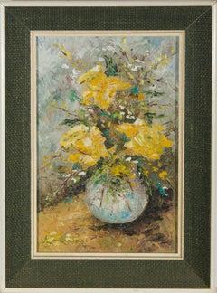 Mary Borum - 20th Century Oil, Still Life of Yellow Roses