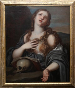 Mary Magdalene with Book and Skull - Old Master Italian religious oil portrait