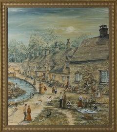 Mary Reed - Signed & Framed 20th Century Acrylic, Bibury Village