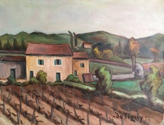 'Mas Pres Eypalieres, Provence' French Vineyard Oil Painting
