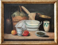 Mediterranean Kitchen Still Life, Italian painting — 18th century oil on canvas