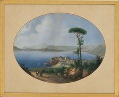 Meuris - Signed & Framed Early 20th Century Gouache, Bay of Naples, Italy