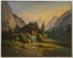 """Mid 19th Century European School """"Rustic Mill"""" Original Oil Painting c.1850"""