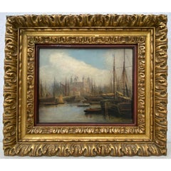 Mid 19th Century Nautical View of the River Thames, London Oil Painting