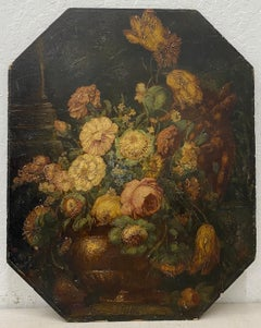 Mid 19th Century Octagonal Panel Floral Still Life Oil Painting